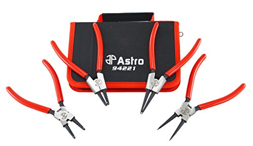 Astro Tools 94221 Astro Pneumatic Tool 7 InternalExternal Cr-V Snap Ring Pliers 4 Piece 0067