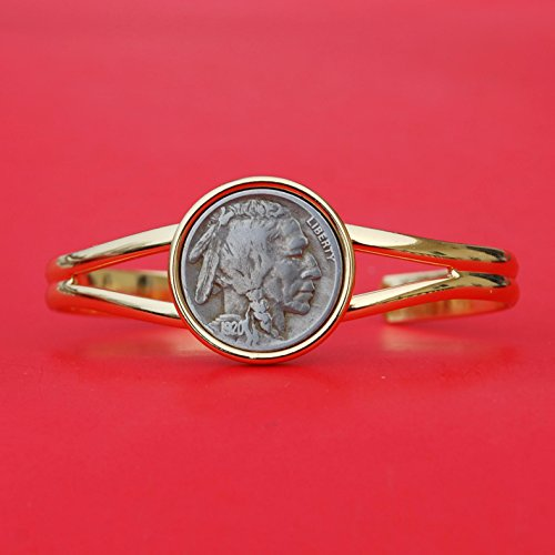 US 1920 Indian Head Buffalo Nickel Gold Plated Cuff Bangle Bracelet NEW
