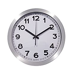 Large Decorative Wall Clock - Quartz Sweep - Easy to Read - 12 Inch Round Aluminum Frame - Battery Operated - White Face