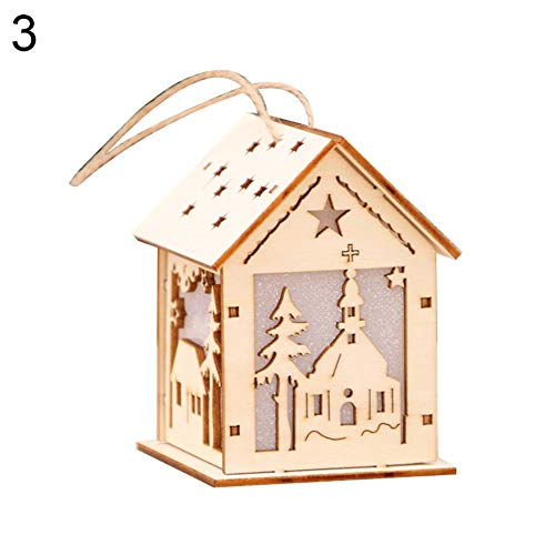 Feida Christmas Light Wooden Snowhouse Log Cabin Chalet Hanging Ornament...