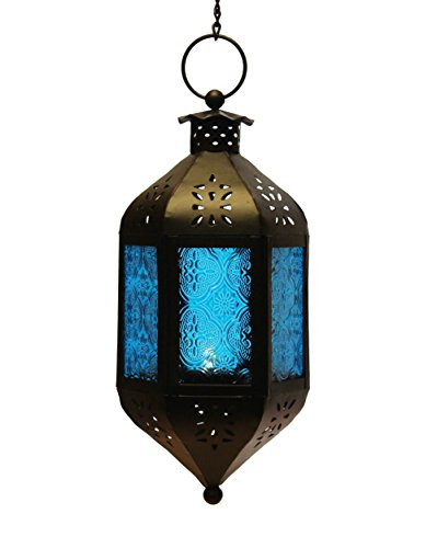Blue Glass Hanging Moroccan Candle Lantern with Chain