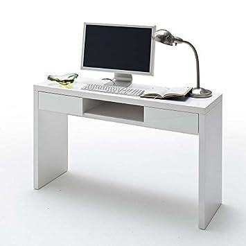 Laptop-Schreibtisch DANILO, weiß, Hochglanz, 2 Schubladen ...