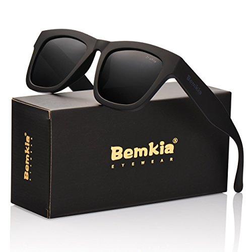 Wayfarer Bemkia Polarized Sunglasses Men Women UV400 Protection Black 58mm Len,Plastic Frame (Plus Black Frame Clear Lens)