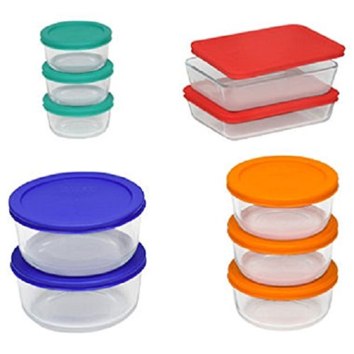 Pyrex 20 Pieces Glass Food Storage Set Bakeware Bowls with Lids Serving - New
