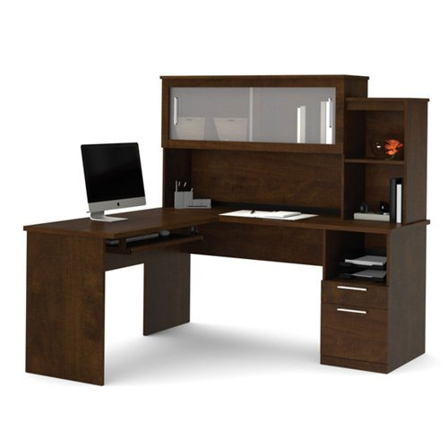 Bestar Dayton L-Shaped Desk in Chocolate by Bestar