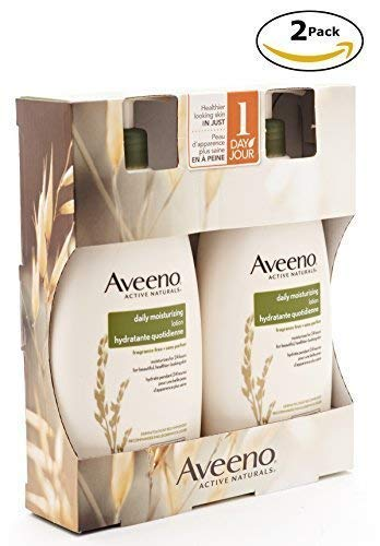 Aveeno Active Daily Moisturizing Lotion, Fragrance Free, 20 oz , Pack of 2 Pump Bottles