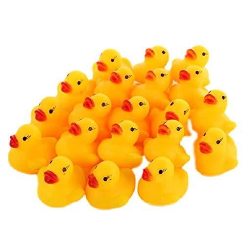 Glasshe Duck Mini Baby Bath Toy Rubber 100-Pack (Yellow Mini, 100Pcs)