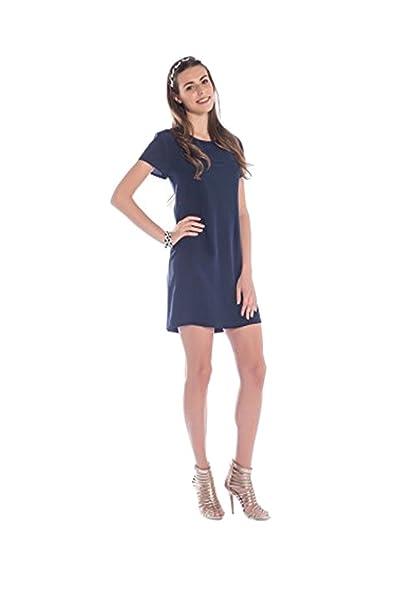 CLUBIELLE - Vestido Tubo Bon Ton in 100% seda italiana (S, Azul Oscuro
