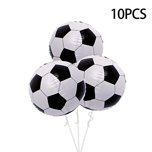 10PCS 22 inch 4D Soccer Balloons for Kids Birthday Party Supplies (22 inch Black)