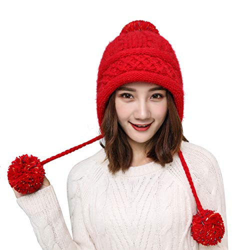 (HUAMULAN Women Fleece Peruvian Skull Beanie Hat Sparkle Winter Ski Earmuffs Chunky Ear Flaps Caps Pompoms)