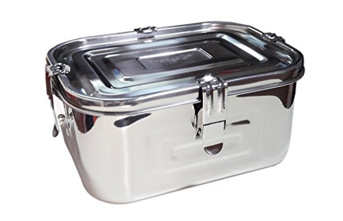 Stainless Steel 101oz(3L)Rectangular Seal Kimchi Food Leakproof Airtight Storage Container Saver ()