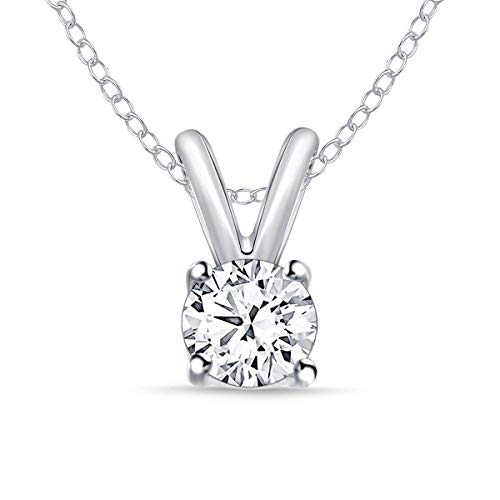 1/4 ct Round Diamond Solitaire Pendant Necklace In14k White Gold (0.25cttw, IJ,I2-I3) 18