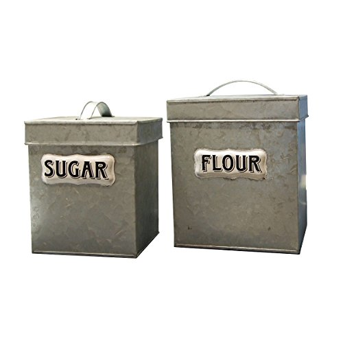 l Kitchen Canisters with Flour and Sugar Vintage Style Label (Garden Kitchen Canister)