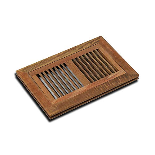- WELLAND 6 Inch x 12 Inch Brazilian Walnut Flush Mount Wood Vent Floor Register - Unfinished