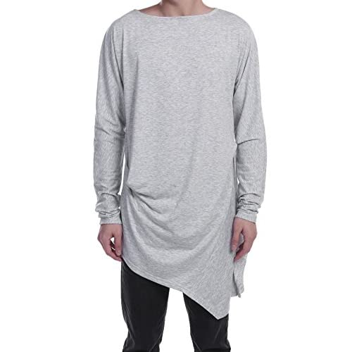 COOFANDY Men's Casual Long Sleeve O Neck Solid Loose Pleated Pullover T-Shirt for sale