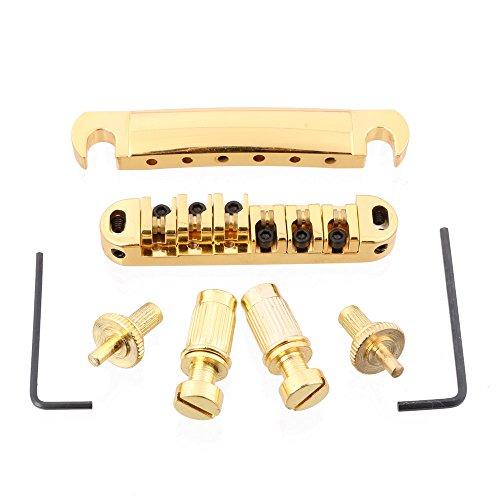 LYWS Golden ABR-1 Plated Roller Saddle Tune-O-Matic Bridge/Tailpiece set for Les Paul LP Guitar Abr 1 Tune O-matic Saddles