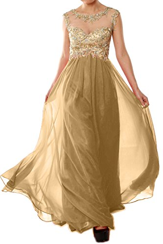 Long Lace Chiffon Gold Dress Gown Evening Champagner Formal Prom Cap Women Sleeve MACloth wYBZFZ