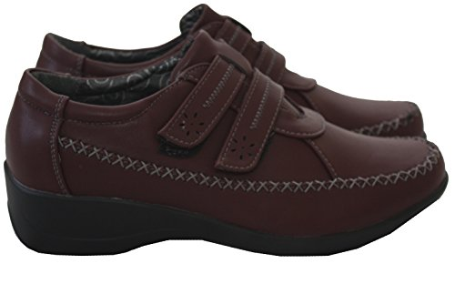 Ladies Womens Casual Wide Fit Touch Fastening Comfort Hook And Loop Strap Flat Loafer Pumps Trainers Shoes - UK 3-8 Burgundy zoARLw4