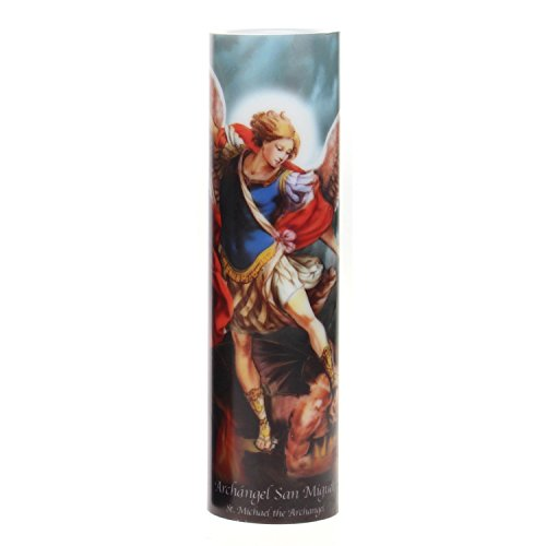 The Saints Collection St. Michael Flickering LED Prayer Candle with Timer, Prayer in English and Spanish, Religious Gift Ideas for Family and - Shop Stonebriar