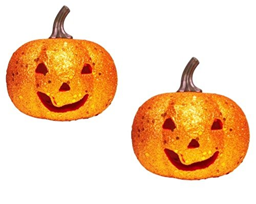 Sparkly Foam Pumpkin With Color Changing Light - Two Pack