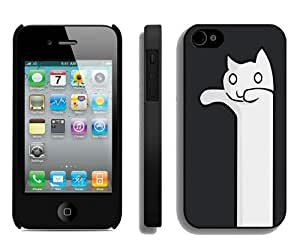 Beautiful And Unique Designed Case For iPhone 4 With Ghost Cat Hd 640x1136 Wallpapers Black Phone Case