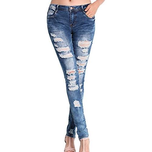 Aishang Women's Casual Broken Capri Pants Leggings Jeans Plus Sze for cheap