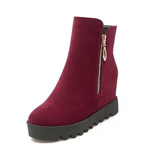 Women's Round Solid Toe Claret Zipper AmoonyFashion Closed Heels High Boots Frosted STgSwdq