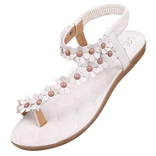 TOOGOO(R) Neue Flip-Flop Sandalen offene Zehe Flip Frauen Schuhe flache Schuhe Boehmen Blume Perlen weiche Aussensohle suess fuer Frauen 669 weiss US7.5 = EUR38 = Fusslaenge 24CM
