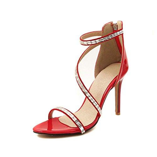 Sandalias Mujer/Sandalia con Pulsera para Mujer/La Sra. Verano Sandalias de Tacón Alto de Cuero Pintado Elegante Cremallera Sandalias de Banquetes de Perforación de Agua Red