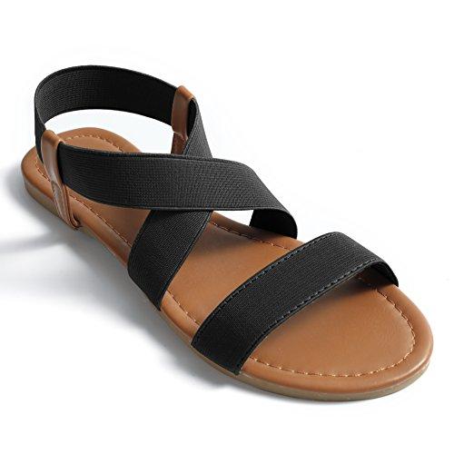 Fasehold Elastic Flat Sandals for Women Black 08 by Fasehold