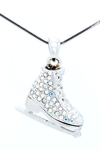 CRYSTAL ICE SKATE CHARM PENDANT NECKLACE - SKATER NECKLACE 3D - MANY COLORS AVAILABLE! - Aurora Borealis Crystals - White Back
