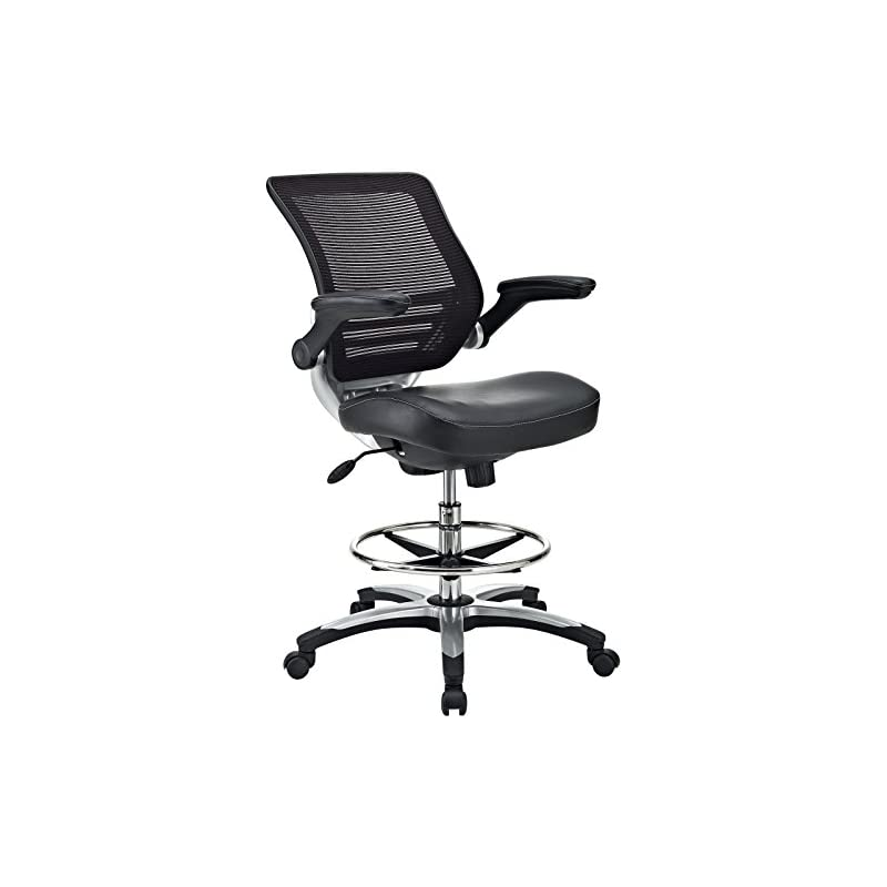 Modway Edge Drafting Chair In Black Viny