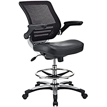 Charming Modway Edge Drafting Chair In Black Vinyl   Reception Desk Chair   Tall  Office Chair For