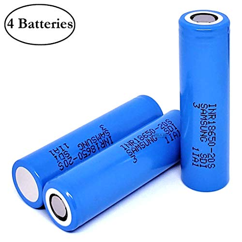 4-Pack Authentic 20S 2000mAh 30A 3.7V Rechargeable Samsung Flat Top Battery for Electric Tools, Toys, LED Flashlights, Torch, and Etc (Best High Drain 18650 Battery)