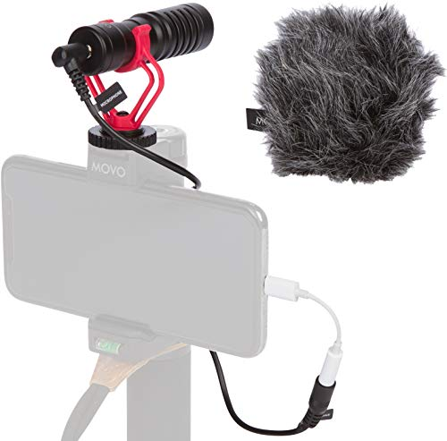 Movo VXR10 Universal Video Microphone with Lightning Dongle Adapter - Includes Shock Mount, Deadcat Windscreen, Case - Compatible with iPhone Xs, XR, X, 8, 7, 6S, 6, 5S, 5, iPad, iPod & Other Devices