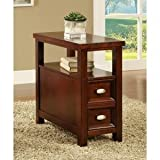 Light Cherry Chair Side Table with 2 Drawers by Poundex For Sale