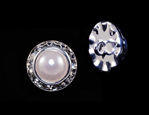 13mm Rondel Button with Imitation Pearl Center - 11789/13mm ()