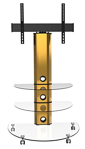 Goldline Gold Tv Tisch Auf Rollen Klares Glas Amazonde Elektronik