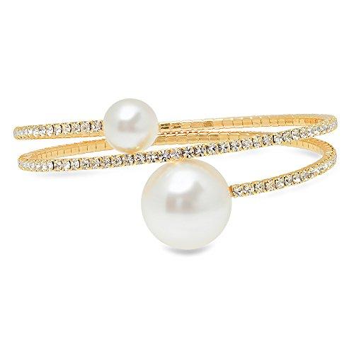 (BRIDE DAZZLE Bridesmaids Gift - Pretty Simulated Pearl & Rhinestone Stretch Bracelet (Silver/Gold/Rose Gold) )