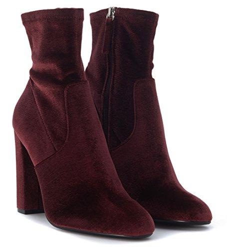 Steve Madden Editt, Zapatos de Tacón con Punta Cerrada para Mujer, Steve Madden Editt Blush Velvet, 35 EU Rojo (Burgundy Velvet)