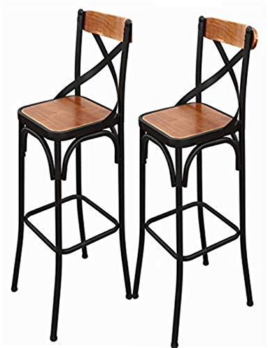 (Barstools Stool Bar Stool Set of 2 Wrought Iron Solid Wood High Chair Front Kitchen Cafe Chair Simple Retro LEBAO (Color : Brown))