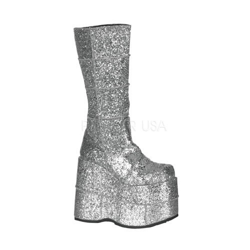 Pleaser Men's Stack-301 Platform Boot,Silver Glitter,11 M US -