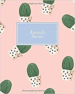 Agenda 2018-2019: Organizador y planificador con citas de inspiración, tamaño 20 x 25 cm, Diseño tropical cactus plantas rosado paraíso (Octubre 2018 ...