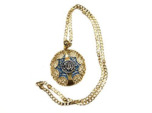 Islamic Muslim Arab Necklace Pendant Enamel Blue Unisex Women Men Hanging Decor Home -