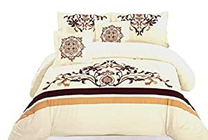 Napoleon Embroidered King Size Comforter Baige Colour 8pcs Set In Poly Bag