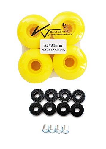 VJ Skateshop Combo 52mm Skateboard Wheels, Abec7 Bearings, Spacers (52mm yellow)