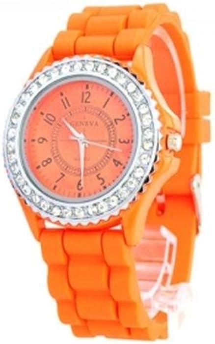 Color naranja como se muestra en el mundo de la moda de imitación Ronda de cuarzo reloj de pulsera para mujer