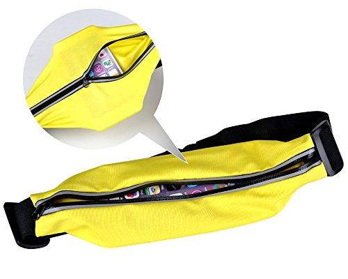 Jishen Men's Women's Superior Water Resistant Running Belts Multifunction Waist Bag (Yellow)