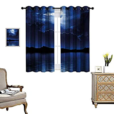 Night Blackout Window Curtain Fantasy Moon and Clouds Over Calm Water Seascape Dramatic Cloudy Dark Sky Customized Curtains W55 x L39 Navy Blue White Black