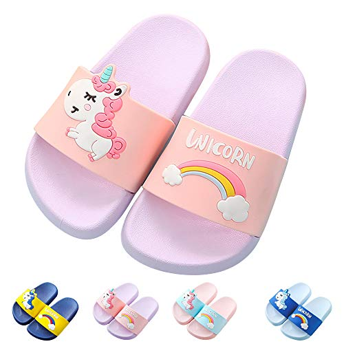 Kids Unicorn Slide Sandals Non-Slip Summer Beach Water Shoes Boys Girls Shower Pool Slippers(Toddler/Little Kids) (7.5-8 M US Toddler, Purple)